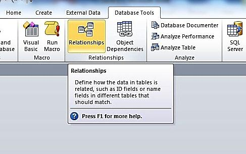 The Relationships Tab In The Ribbon