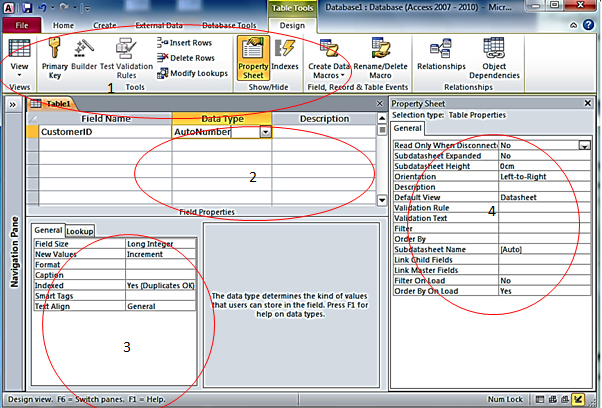 How to create a new table in ms access access all in one for Table design view access